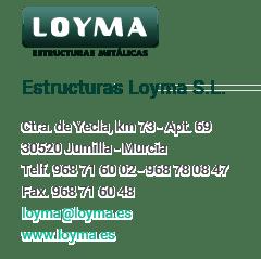 Datos de contacto LOYMA estructuras metálicas